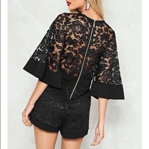Nasty Gal black lace romper